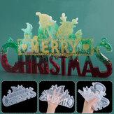 2020 Decoração de Natal DIY Cristal Epoxy Resin Molde Christmas Santa Letters Listagem Decoração Silicone Mold for Christmas Resin