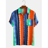 Men Colorful Stripe Rainbow Print Chest Pocket Short Sleeve Holiday Casual Shirts