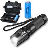 XML2 1100LM Kit de linterna táctica con zoom con 26650 Batería y cargador de energía Luz de trabajo de foco fuerte anticaída para al aire libre cámping pesca Caza