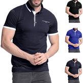 Camisa masculino manga curta colarinho t Camisas algodão tee botão casual slim fit tops