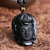 Natürliche schwarze Obsidian Kwan-Yin Anhänger Charm Halskette Lucky Jewelry Collocation Kleidung