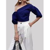 Frauen unregelmäßig schulterfreie Puffärmel schlanke kurze Bluse