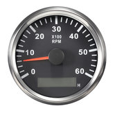 12/24V 85mm 6000 RPM Boat Meter Tachometer Hourmeter Black