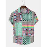 Mens Colorful Patchwork Print Short Ethnic Style Sleeve Casual Shirts