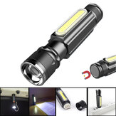 XANES® A516 800LM T6+COB Zoomable Multifunction LED Flashlight with Magnet Handy&18650 Li-Battery USB Rechargeable Work Light Pocket Lamp