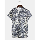 Mens Vintage Floral Print Round Neck Short Sleeve Ethnic Breathable T-Shirts