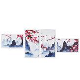 4 pezzi pittura decorativa a parete moderna astratta decorazione della parete prugna fiore arte foto stampe su tela decorazioni home office Olio dipinti