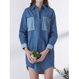 Dames Knop Pocket Denim Shirt Jurk