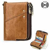 Uomo RFID Blocco Vera Pelle Porta carte con cerniera a portafoglio e portamonete Borsa