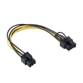 REXLIS 6pin Female to Dual 8pin(6+2) Female Power Adapter Cable 20cm Graphics Card Splitter Cable Power Supply Cable