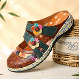 SOCOFY Vintage Handmade Leather Floral Hook Loop Strap Slip on Mules Clogs Flat Shoes