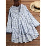 Женская повседневная повседневная клетчатая блузка с v-образным вырезом и высоким низким подолом