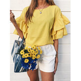 Casual Solid Color Ruffled Sleeve Patchwork Loose Blouse