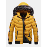 Men Letter Webbing Thick Removable Fur Hooded Zipper Pocket Solid Color Down Jacket