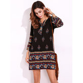 Plus Size Women Floral Printed Bohemian Mini Dress