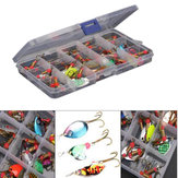 ZANLURE 30pcs / lot coloridos Tront cuchara el metal pesca señuelo Spinner Bait Bass Tackle Con Caja