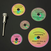 Drillpro SW-B4 6pcs HSS Circular Saw Blades Set Colored Saw Blades for Rotary Tools