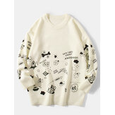Mens Cute Cartoon Print Round Neck Long Sleeve Knitted Pullover Sweaters