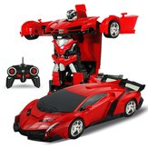 Rastar 1/18 2 In 1 RC Car Wireless Sports Transformation Robot Model Deformation Truck Fighting Toy