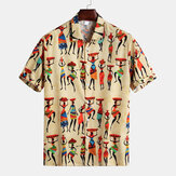 Mens Characters Printed Buttons Fly Breathable Casual Shirts