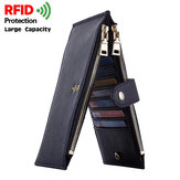 Unisex Genuine Leather RFID Anti-theft Bi-fold Multi-slot Card Case Storage Bag Card Holder Wallet