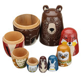 5 bambole Nesting in legno Aniimal Bear Bambola russa Matryoshka Toy Decor Kid Gift