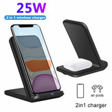 2 In 1 25W Qi Wireless Charger Dock Stand Fast Wireless Charging Pad Phone Holder For Qi-enabled Smart Phones For iPhone 11 For Samsung Galaxy Note 20 S20 Ultra Huawei P40 Pro Xiaomi Poco X3 NFC OnePlus 8 Pro Non-original