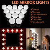 USB Powered 14 Bulbs Make Up LED Mirror Light Kit Vanity Hollywood Style Dimmable Dressing Lamp