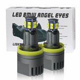 2Pcs Car LED Angel Eyes Lights H8 Headlights 1600LM 6500K With Connector For BMW