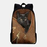 Plecak damski Oxford Patchwork o dużej pojemności Cartoon Cat ZIpper Pattern Printing Backpack