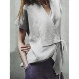 Blusa irregular de manga corta de algodón de color puro para mujer