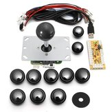 Dual Players Black Game DIY Arcade Game Console Set Kits Replacement Parts USB Encoders to PC Double Joysticks and Buttons