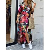 Abiti maxi da donna con doppia tasca a maniche lunghe con stampa geometrica vintage Camicia