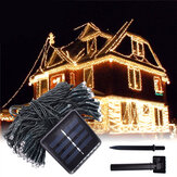 12 M 100LED Solar Powered Peri String Cahaya Natal Holiday Party Outdoor Garden Decor