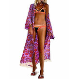 Summer Floral Print Open Front Holiday Beach Women Long Cardigans