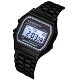 XSVO B03151 Fashion Casual 12/24 Stunden LED Display Countdown Stoppuhr Stahlband Wasserdicht Damen Digitaluhr