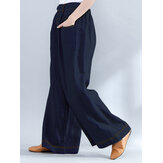 Women Elastic Waist Loose Wide Leg Pants with Zipper