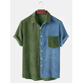 Mens Corduroy Loose Splicing Light Praktisk ficka Andningsbar Casual Button Down Skjortor