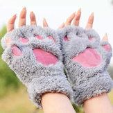 النساء الفتيات منفوش القطيفة الدب القط باو أصابع قفازات باو قفاز الشتاء الدافئة القفازات