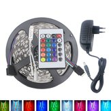 5M 3528 24W RGB 300 Non-Waterproof LED Flexible Strip Light 24 Keys IR Remote + Power Adapter DC12V
