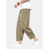 Mens Cotton Solid Color Loose Casual Elastic Drawstring Waist Harem Pants