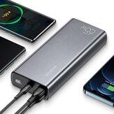 USAMS CD165 111Wh 65W 30000mAh Power Bank Fonte de alimentação com 65W USB-C PD QC4.0 / 22,5W e 18W QC3.0 USB-A / 100W USB-C para USB-C Suporte de cabo AFC FCP SCP Carregamento rápido para iPhone 12 Mini 12 Pro Máx. Para Samsung Galaxy S21 Note S20 ul