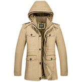 Mens Winter Warm Fleece Dik Hooded Jacket Outdoor Military Solid Color Coat