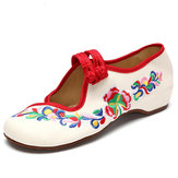 Flower Embroidered Slip On Retro Flat Loafers