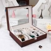 Luxus Uhr Kasten Vitrine Organizer Glass Top Schmuck Lagerung Geschenk
