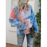 Frauen Tie-Dye Stand Collar Fluffy Fleece Dickes Sweatshirt mit Känguru-Tasche