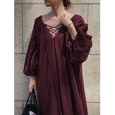 Wanita Warna Solid Leher V Dasi Lengan Gelembung Gaun Lipit A-line Maxi