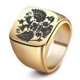 PunkизнержавеющейсталиDoubleEagle Head Finger Ring для мужчин
