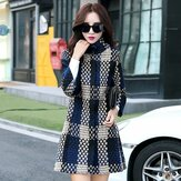 Women Cuasal Woolen Cashmere Lattice Coats