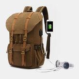 Hommes en cuir véritable et toile USB chargeant le sac à dos de grande capacité de voyage rétro